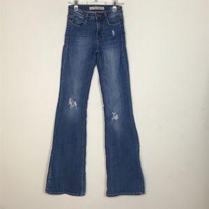 Zara- Skinny Flare Distressed Jeans size 2